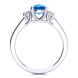 1 1/2 Carat Oval Shape Blue Topaz and Two Diamond Ring