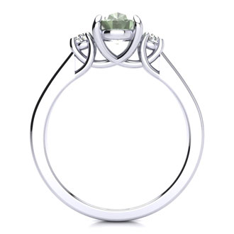 1.15 Carat Oval Shape Green Amethyst and Two Diamond Ring