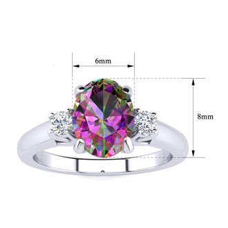1 1/2 Carat Oval Shape Mystic Topaz and Two Diamond Ring