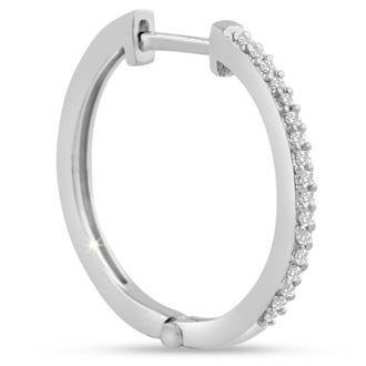 1/4ct Diamond Hoop Earrings in White Gold Overlay, Hidden Snap Backs