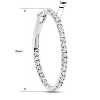 1/2 Carat Diamond Hoop Earrings In 10K White Gold, 3/4 Inch