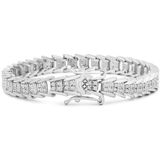 2 Carat Diamond Bracelet In Platinum Overlay, 7 Inches. An Update Of A Beloved Style!  You Will Love This Bracelet!