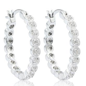 1/4 Carat Diamond Halo Look Hoop Earrings, 3/4 Inch.  So Beautiful And Brand New!