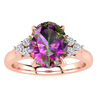 2 1/4 Carat Oval Shape Mystic Topaz and Diamond Ring In 14K Rose Gold