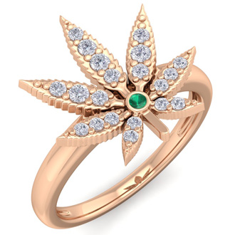 1/5 Carat Diamond and Emerald Weed Leaf Ring In 14K Rose Gold