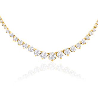 Graduated 10 Carat Diamond Tennis Necklace In 14 Karat Yellow Gold