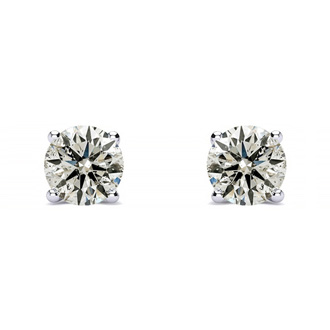 Long Post Earrings, Nearly  3/4ct Natural, Earth Mined Diamond Stud Earrings in 14K White Gold