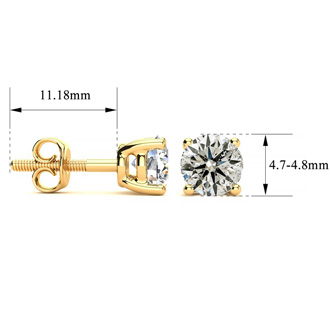 Very Special Long Post Earrings. .85 Carat Diamond Stud Earrings in 14K Yellow Gold.  Rarely Available!