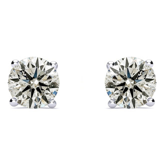 Long Post Diamond Stud Earrings! 1.25 Carat Fiery Natural Diamond Stud Earrings in 14K White Gold
