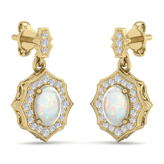 1 3/4 Carat Oval Shape Opal and Diamond Dangle Earrings In 14 Karat Yellow Gold