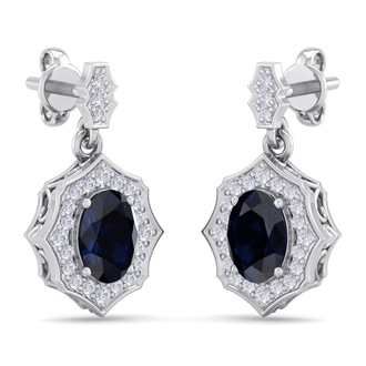 2 1/4 Carat Oval Shape Sapphire and Diamond Dangle Earrings In 14 Karat White Gold