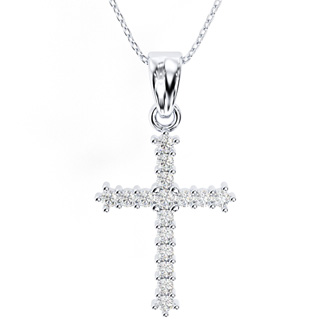 Classic 1/4ct Diamond Cross Pendant in 10k White Gold