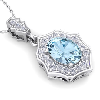 1 1/2 Carat Oval Shape Aquamarine and Diamond Necklace In 14 Karat White Gold, 18 Inches