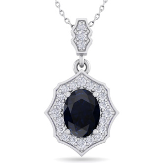 1 3/4 Carat Oval Shape Sapphire and Diamond Necklace In 14 Karat White Gold, 18 Inches