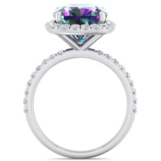 5 1/2 Carat Cushion Cut Mystic Topaz and Diamond Ring In 14 Karat White Gold