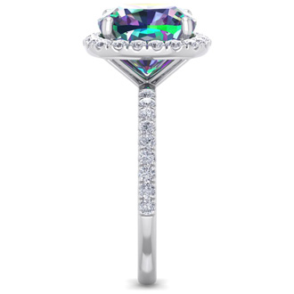 5 1/2 Carat Cushion Cut Mystic Topaz and Diamond Ring In 14 Karat White Gold