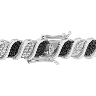 1/4 Carat Classic Black and White Diamond Tennis Bracelet In Platinum Overlay