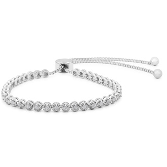 1 Carat Natural Diamond Adjustable Bolo Slide Tennis Bracelet