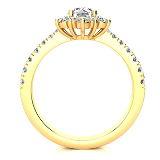 2 Carat Round Shape Flower Halo Moissanite Engagement Ring In 14K Yellow Gold