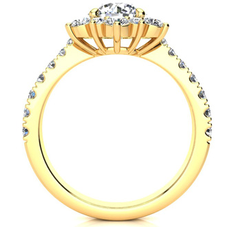 1 Carat Round Shape Flower Halo Moissanite Engagement Ring In 14K Yellow Gold