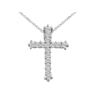 1/2ct Diamond Cross Pendant in 10k White Gold. Bargain Price
