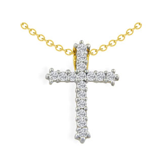 1/2ct Diamond Cross Pendant in 10k Yellow Gold