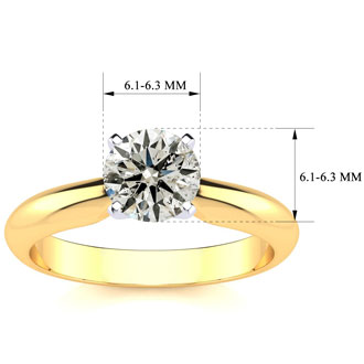 1ct Round Diamond Solitaire Ring in 14k Yellow Gold. Incredible Value For A 1 Carat Natural, Earth-Mined Diamond Solitaire Ring
