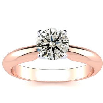 1 Carat Round Diamond Solitaire Ring in 14K Rose Gold