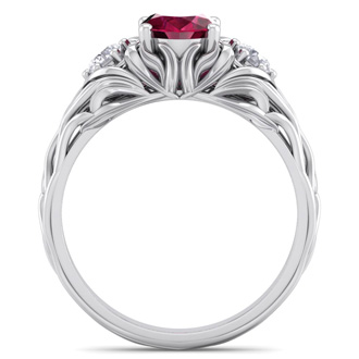 1 1/5 Carat Oval Shape Ruby and Diamond Intricate Vine Engagement Ring In 14 Karat White Gold