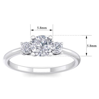 1 Carat Natural Colorless Diamond Ring Featuring a .75 Carat Center Diamond in Solid 14k White Gold