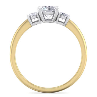 1 Carat Natural Colorless Diamond Ring Featuring a .75 Carat Center Diamond in Solid 14k Yellow Gold