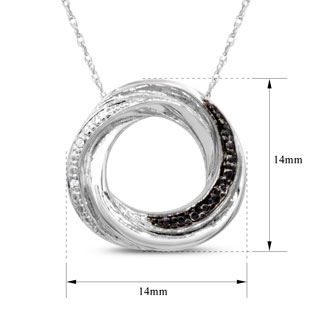 4 Natural Black and White Diamond Circle Necklace In Sterling Silver, 18 Inches.  Closeout, Blowout Deal.  Solid Sterling Silver!
