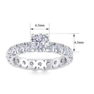3 Carat Round Shape Diamond Eternity Engagement Ring In 14 Karat White Gold