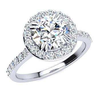2 Carat Round Shape Halo Moissanite Engagement Ring In 14 Karat White Gold