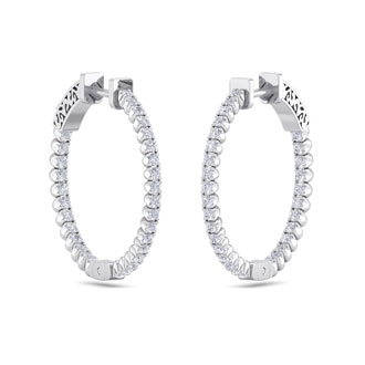 1 Carat Diamond Hoop Earrings In 14 Karat White Gold, 3/4 Inch