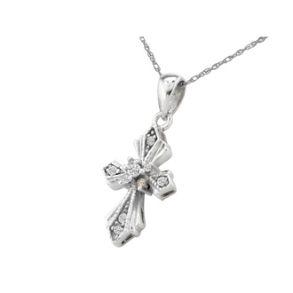 Pretty & Understated Diamond Cross Pendant in 10k White Gold