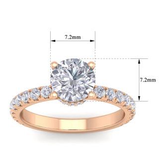 2 Carat Round Shape Hidden Halo Moissanite Engagement Ring In 14 Karat Rose Gold