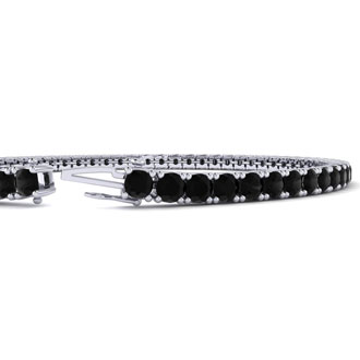 3 Carat Black Diamond Mens Tennis Bracelet In 14 Karat White Gold, 8 Inches