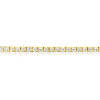 4 Carat Diamond Mens Tennis Bracelet In 14 Karat Yellow Gold, 9 Inches