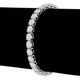 10 1/2 Carat Diamond Mens Tennis Bracelet In 14 Karat White Gold, 8 Inches