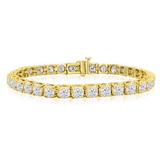 11 3/4 Carat Diamond Mens Tennis Bracelet In 14 Karat Yellow Gold, 9 Inches