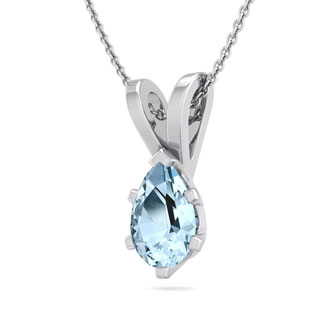1/2 Carat Pear Shape Aquamarine Necklace In Sterling Silver, 18 Inches