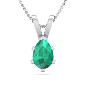 1/2 Carat Pear Shape Emerald Necklace In Sterling Silver, 18 Inches