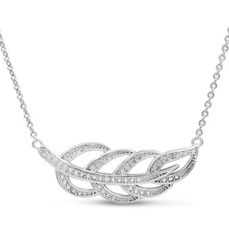 Ornate Diamond Leaf Necklace, 18 Inches.  Brand New Style.  Beautiful!  Looks So Expensive!