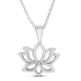One Diamond Lotus Necklace, 18 Inches