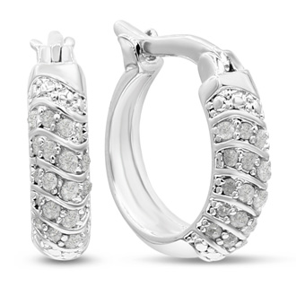 1/2 Carat Natural Diamond Hoop Earrings, 1/2 Inch. Featuring Rose Cut Genuine Diamonds