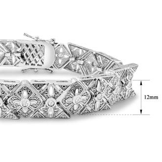 BLOWOUT LAST REMAINING QUANTITY! 1 Carat Intricate Diamond Bracelet, 7 Inches.  Interesting Art Deco Natural, Rose-Cut Diamond Bracelet That Looks Very Big!