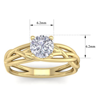 1 Carat Round Moissanite Solitaire Intricate Vine Engagement Ring In 14 Karat Yellow Gold