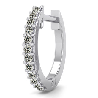 0.06 Carat Diamond Single Mens Hoop Earring In 14 Karat White Gold