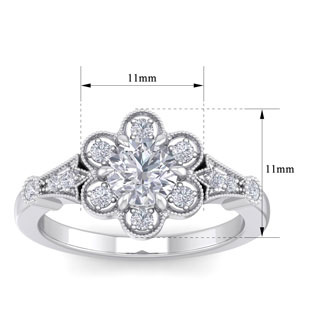 1 Carat Round Shape Moissanite Vintage Engagement Ring In Sterling Silver